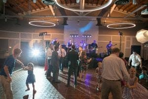 wedding reception dancing with band